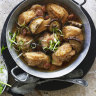 Adam Liaw's steamed chicken with shiitake mushrooms and Chinese sausage, and tiger salad