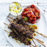 Neil Perry's spicy lamb skewers with cucumber yoghurt