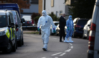 Police scene of crime officers attend following the stabbing of UK Conservative MP Sir David Amess.