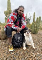 Singer/songwriter Danzal Baker and his puppy Djapa