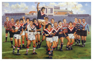 Where's Aubo? The original Roosters Centurions painting.