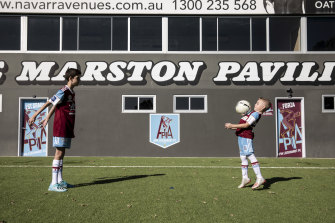 Grounded: APIA Leichhardt juniors Jacob Duncan and Lucas Apostolovski won't be allowed to head the ball at training due to concussion fears.