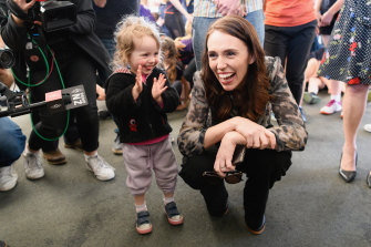New Zealand Prime Minister Jacinda Ardern meet a small fan in Christchurch this week.