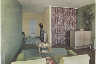 Roy Grounds' own flat in Toorak's Quamby apartments, with curtain covering kitchenette in Frances Burke's Rangga, 1940.