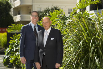 Solomon Lew and his new retail chief, former JB Hi-Fi CEO Richard Murray.