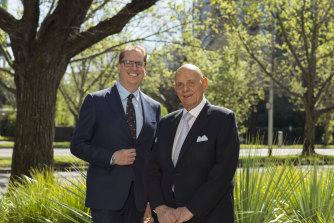 Premier Investments chief executive Richard Murray (left) and chairman Solomon Lew, are expecting a bumper December quarter this year.