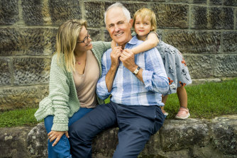 "Malcolm Turnbull, with daughter Daisy and granddaughter Alice, says he will continue to speak up about climate change: ""The Coalition is held hostage by a climate-denying group within it, backed up by their supporters in the media,"" he says."