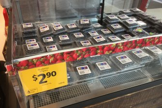 Blueberries for sale in the strawberry display at Coles in Pyrmont.