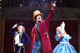 Kirby Burgess, Todd McKenney and Susie Mathers  in Barnum the Circus Musical.