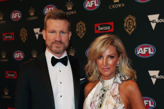 Collingwood coach Nathan Buckley and his wife Tania Buckley.