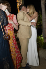 Karl Stefanovic and Jasmine Yarbrough embrace at their pre-wedding cocktail reception in Mexico on Thursday night.