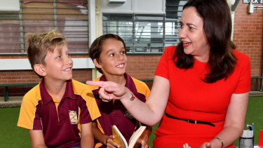 Queensland Premier Annastacia Palaszczuk talks to students at Edge Hill State Primary School in Cairns.