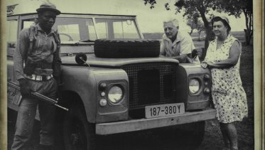 Zimbabwe farmers Ted and Jean Kirby pictured with an armed guard on their farm in 1987.