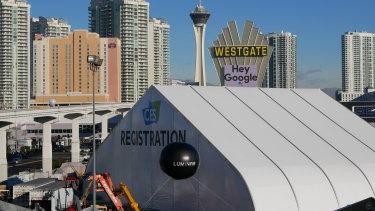Google ads dot the Vegas skyline.