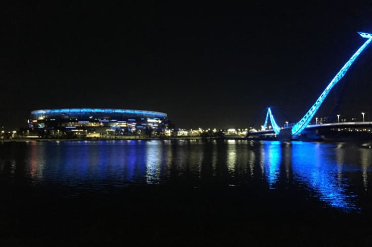 WA landmarks were lit blue for National Water Week last week.