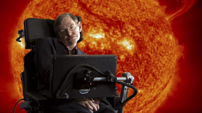 Stephen Hawking in front of sun with coronal mass ejections.