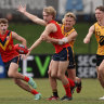 South Australia's Jason Horne-Francis (centre) is favoured to be the AFL No.1 draft pick this year.