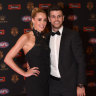 MELBOURNE, AUSTRALIA - SEPTEMBER 26: Trent Cotchin of Richmond (R) and wife Brooke Cotchin on the red carpet ahead of the 2016 AFL Brownlow Medal count at Crown Palladium on September 26, 2016 in Melbourne, Australia.  (Photo by Vince Caligiuri/Fairfax Media) *** Local Caption *** Trent Cotchin; Brooke Cotchin