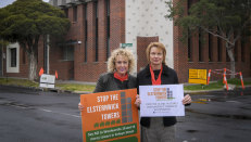 Elsternwick residents Kathy Deacon, left, and Karen Boyd-Jones are rallying against Woolworths' proposed development.
