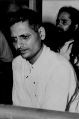 Nathuram Godse, alleged assailant of Mahatma Gandhi, pictured in court on May 27, 1948