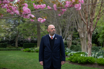 Spring awakening: Ambassador Arthur Sinodinos is ready to meet and greet after a year sheltering from the pandemic at his Washington DC residence.