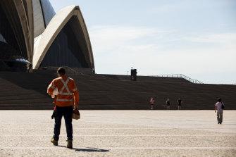 A practically deserted Opera House forecourt on Wednesday.