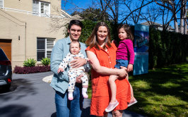 Selling up and leaving Australia: Lisa and Diarmaid Connolly with their children Alex and Izzy in Oyster Bay.