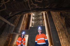 Site engineer Emma Clark with Mechanical and Electrical Manager Charles Giuttari within a ventilation shaft of NorthConnex.
