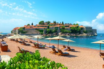 Beach near the island of Sveti Stefan Hotel, Montenegro
