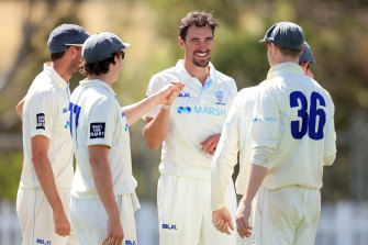 Mitchell Starc and the Blues celebrate a a wicket against Tasmania in a Shield clash in 2020.