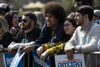 Supporters wait outside a Get Out The Vote Rally with Bernie Sanders in Columbia, South Carolina.