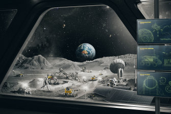 An artist's impression showcasing how an Australian-made rover could contribute to a bigger international exploration program on the moon.