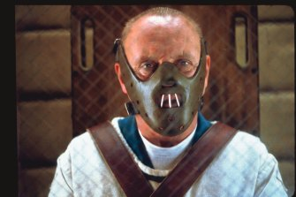 Anthony Hopkins as Thomas Harris' most famous creation, Hannibal Lecter, in the film version of The Silence of the Lambs.