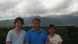 Thomas, 17, Ralph and Stuart, then 13, in Hawaii.
