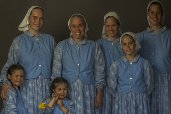 From left, Ruth, 4, Esther, 17, Abi, 2, mother Bethany, Elizabeth, 12, Mary, 10, and Hannah, 16.