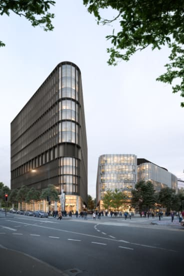 An artist's render of CapitalProperty Group's $300 million Constitution Place development in central Canberra.