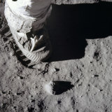 A close-up view of an astronaut's foot and footprint in lunar soil, 1969. A lack of atmosphere means the footprints of Neil Armstrong and Buzz Aldrin are probably still there.