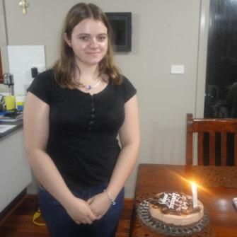 Courtney Topic celebrating her 22nd birthday.