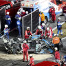 Ryan Newman is removed from the wreckage of his car to be taken to hospital after his crash in the Daytona 500.