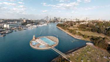 An artist's impression of a City of Sydney proposal for new harbour-side pool at Glebe Foreshore.