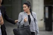 Elisabeth Mary Coman leaving Brisbane Supreme Court earlier this month.