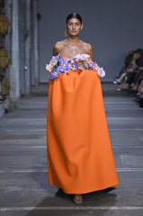 Mariam Seddiq's models wore orchids as tops at Fashion Week.