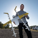 Project Wing chief executive James Burgess with the new drone on Friday.