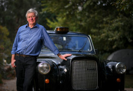 Dillon pictured in front on his London-style black cab, just like the one Prince Philip travelled in to go unnoticed in crowds.