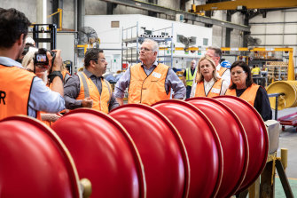 Prime Minister Scott Morrison during a tour of the Mineral Technologies facility on the Gold Coast.