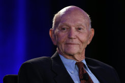 American former astronaut and test pilot Michael Collins smiles during ECAD Blast Off! - Apollo Astronaut Symposium prior the 115th Explorers Club Annual Dinner  on March 16, 2019 in New York City.