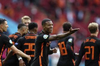 Georginio Wijnaldum of the Netherlands celebrates after scoring his side's second goal.