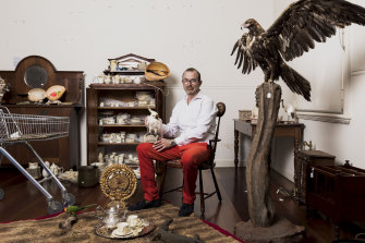Hamish Clark of Leonard Joel with some of the Private Collection Of Trevor Kennedy.