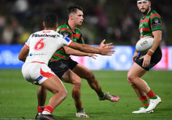 Lachlan Ilias scored a try on debut for the Rabbitohs on Saturday night.