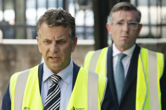 Transport Minister Andrew Constance, with Treasurer Dominic Perrottet in the background, has indicated stage two of the Parramatta light rail will not proceed.